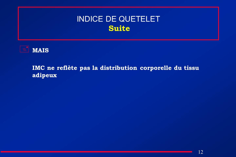 12 INDICE DE QUETELET Suite MAIS IMC ne reflète pas la distribution corporelle du tissu adipeux
