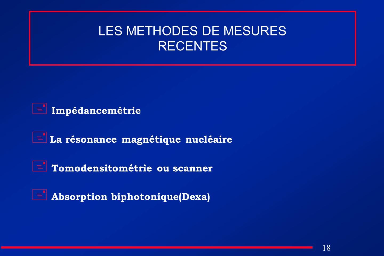 18 LES METHODES DE MESURES RECENTES Impédancemétrie La résonance magnétique nucléaire Tomodensitométrie ou scanner Absorption biphotonique(Dexa)