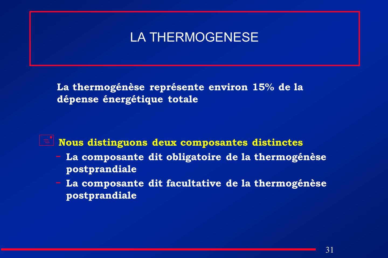 31 LA THERMOGENESE La thermogénèse représente environ 15% de la dépense énergétique totale Nous distinguons deux composantes distinctes - La composant