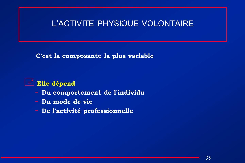 35 LACTIVITE PHYSIQUE VOLONTAIRE C'est la composante la plus variable Elle dépend - Du comportement de l'individu - Du mode de vie - De l'activité pro
