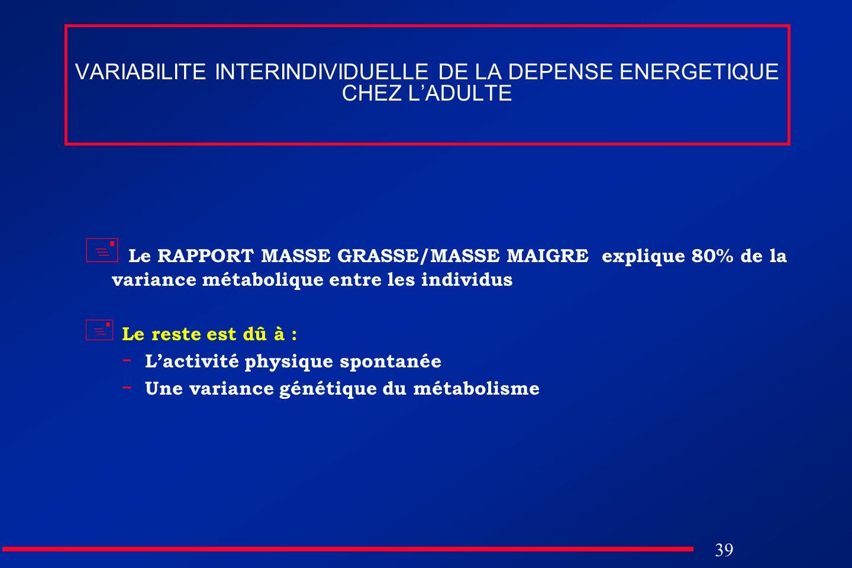 39 VARIABILITE INTERINDIVIDUELLE DE LA DEPENSE ENERGETIQUE CHEZ LADULTE Le RAPPORT MASSE GRASSE/MASSE MAIGRE explique 80% de la variance métabolique e
