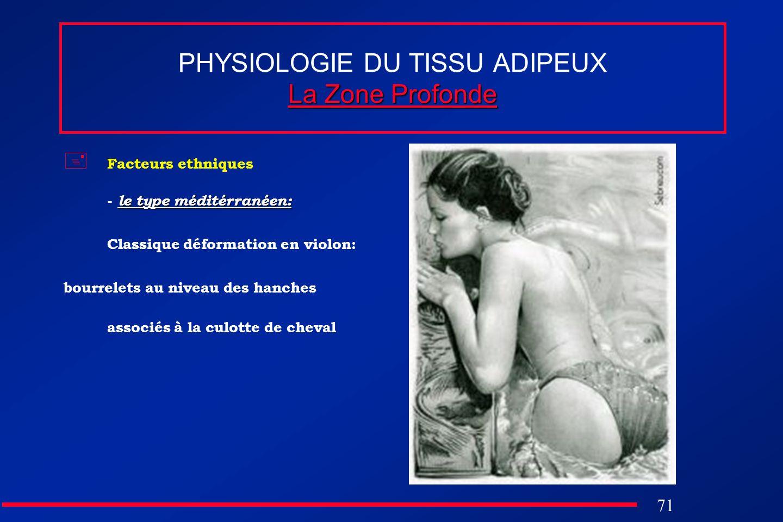 71 La Zone Profonde PHYSIOLOGIE DU TISSU ADIPEUX La Zone Profonde Facteurs ethniques le type méditérranéen: - le type méditérranéen: Classique déforma