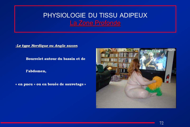 72 La Zone Profonde PHYSIOLOGIE DU TISSU ADIPEUX La Zone Profonde -Le type Nordique ou Anglo saxon Bourrelet autour du bassin et de labdomen, « en pne