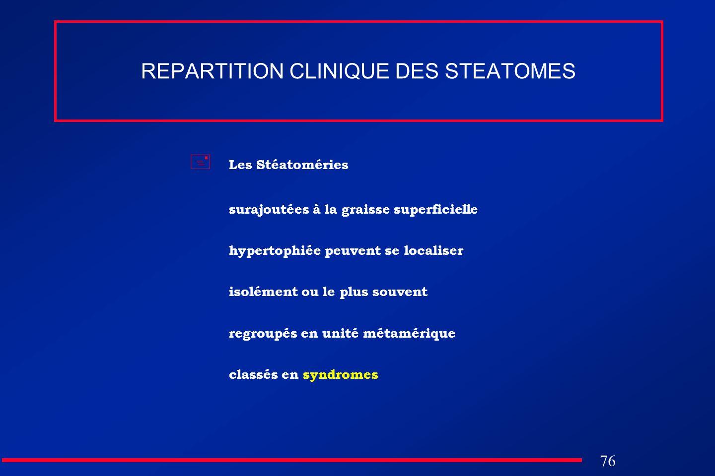 76 REPARTITION CLINIQUE DES STEATOMES Les Stéatoméries surajoutées à la graisse superficielle hypertophiée peuvent se localiser isolément ou le plus s
