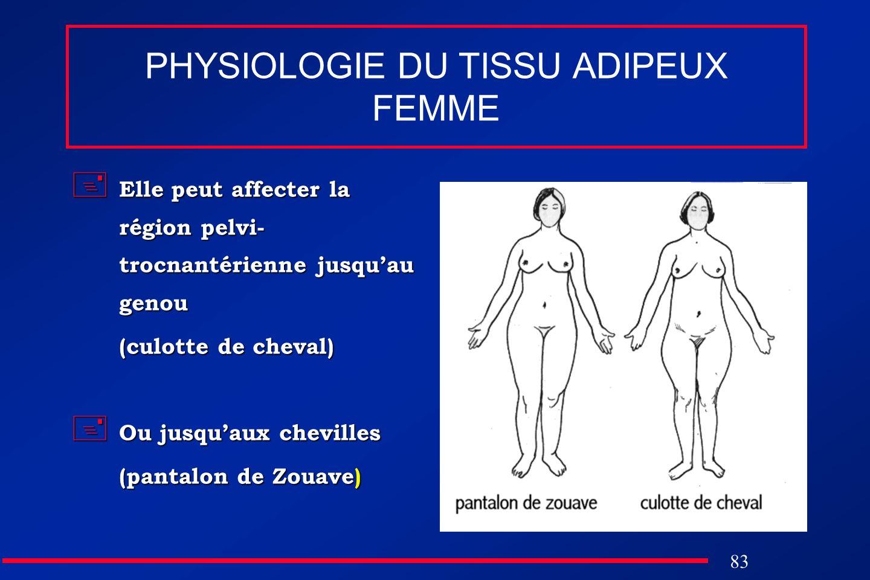 83 PHYSIOLOGIE DU TISSU ADIPEUX FEMME Elle peut affecter la région pelvi- trocnantérienne jusquau genou Elle peut affecter la région pelvi- trocnantér