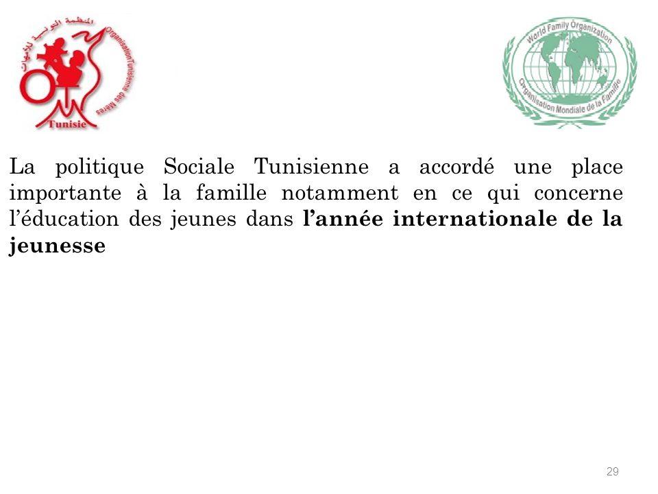 La politique Sociale Tunisienne a accordé une place importante à la famille notamment en ce qui concerne léducation des jeunes dans lannée internationale de la jeunesse 29