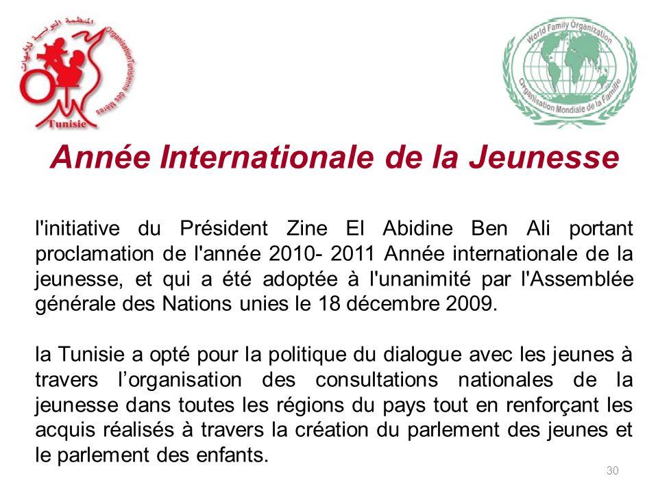 Année Internationale de la Jeunesse l initiative du Président Zine El Abidine Ben Ali portant proclamation de l année 2010- 2011 Année internationale de la jeunesse, et qui a été adoptée à l unanimité par l Assemblée générale des Nations unies le 18 décembre 2009.