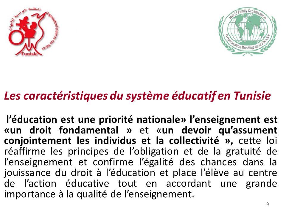 Les caractéristiques du système éducatif en Tunisie léducation est une priorité nationale» lenseignement est «un droit fondamental » et «un devoir quassument conjointement les individus et la collectivité », cette loi réaffirme les principes de lobligation et de la gratuité de lenseignement et confirme légalité des chances dans la jouissance du droit à léducation et place lélève au centre de laction éducative tout en accordant une grande importance à la qualité de lenseignement.