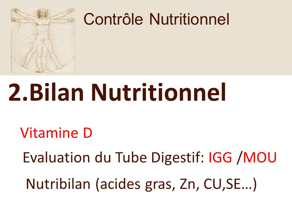 2.Bilan Nutritionnel Vitamine D Evaluation du Tube Digestif: IGG /MOU Nutribilan (acides gras, Zn, CU,SE…) Contrôle Nutritionnel