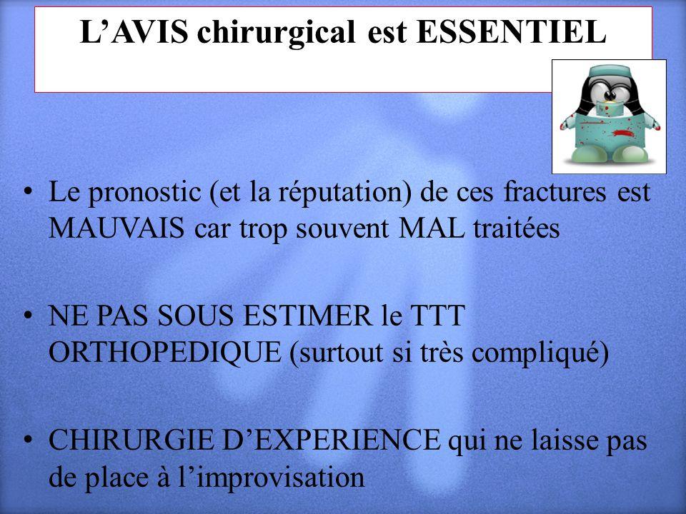 LAVIS chirurgical est ESSENTIEL Le pronostic (et la réputation) de ces fractures est MAUVAIS car trop souvent MAL traitées NE PAS SOUS ESTIMER le TTT