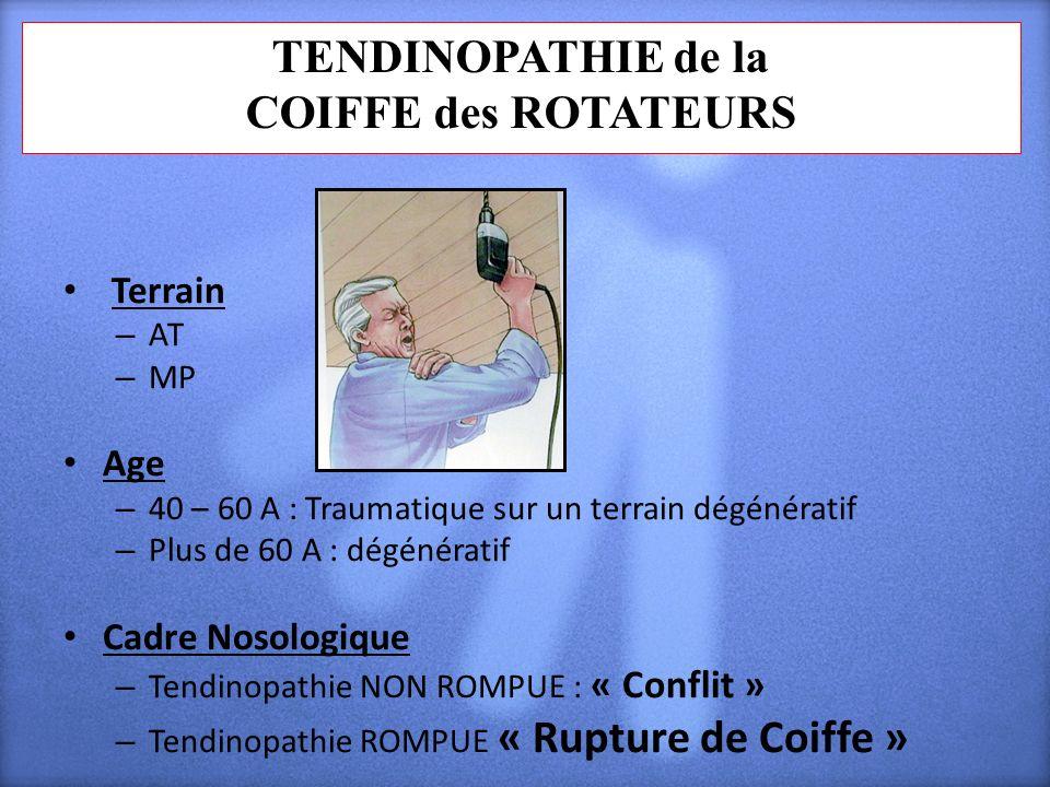 TENDINOPATHIE de la COIFFE des ROTATEURS Terrain – AT – MP Age – 40 – 60 A : Traumatique sur un terrain dégénératif – Plus de 60 A : dégénératif Cadre