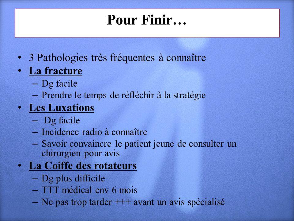 Pour Finir… 3 Pathologies très fréquentes à connaître La fracture – Dg facile – Prendre le temps de réfléchir à la stratégie Les Luxations – Dg facile