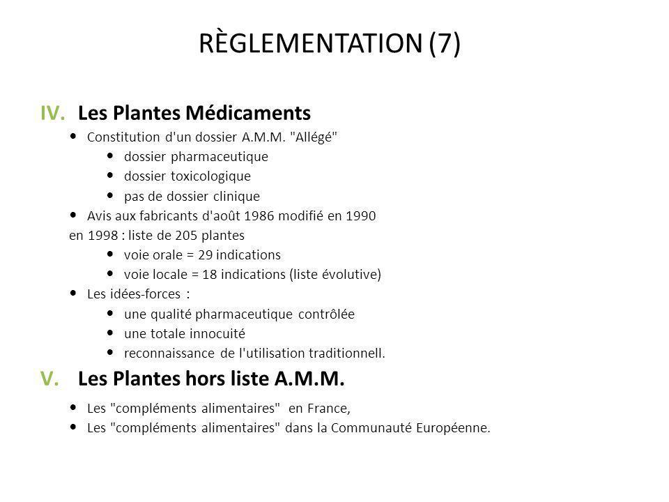 RÈGLEMENTATION (7) IV.Les Plantes Médicaments Constitution d'un dossier A.M.M.