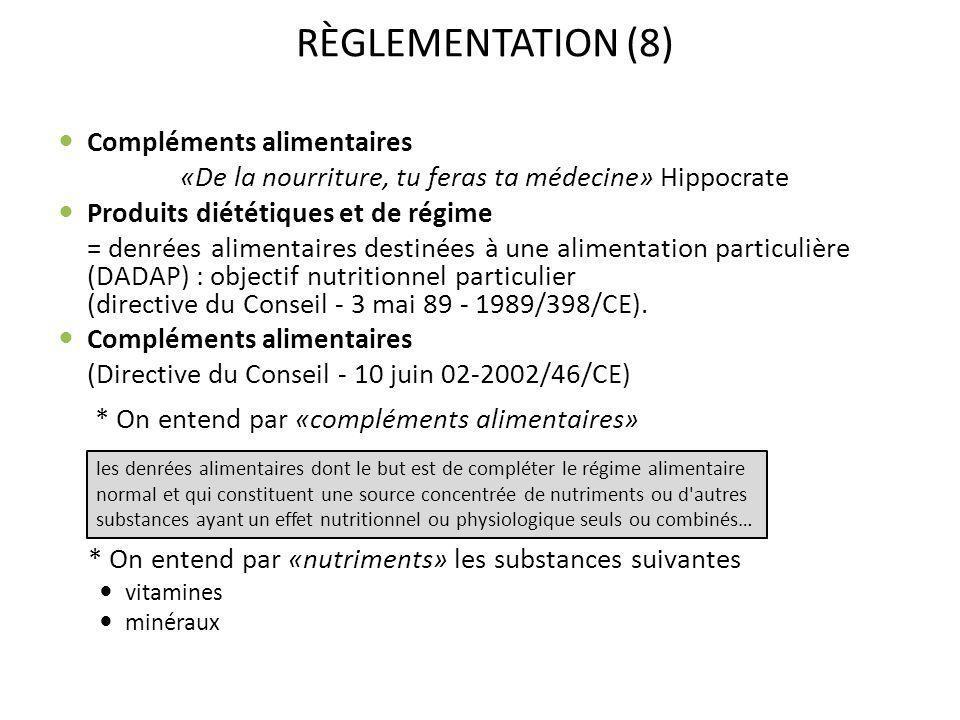 RÈGLEMENTATION (8) Compléments alimentaires «De la nourriture, tu feras ta médecine» Hippocrate Produits diététiques et de régime = denrées alimentair