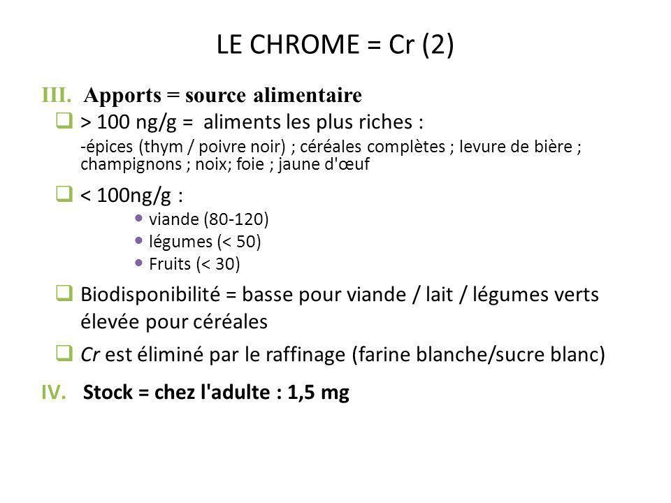LE CHROME = Cr (2) III.Apports = source alimentaire > 100 ng/g = aliments les plus riches : -épices (thym / poivre noir) ; céréales complètes ; levure
