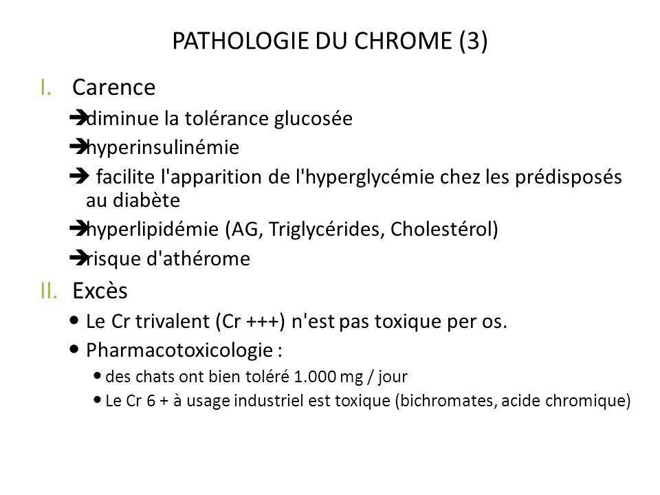 PATHOLOGIE DU CHROME (3) I.Carence diminue la tolérance glucosée hyperinsulinémie facilite l'apparition de l'hyperglycémie chez les prédisposés au dia