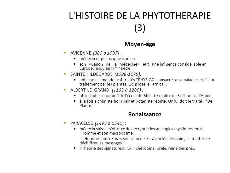 L'HISTOIRE DE LA PHYTOTHERAPIE (3) Moyen-âge AVICENNE (980 à 1037) : médecin et philosophe iranien son «Canon de la médecine» eut une influence consid