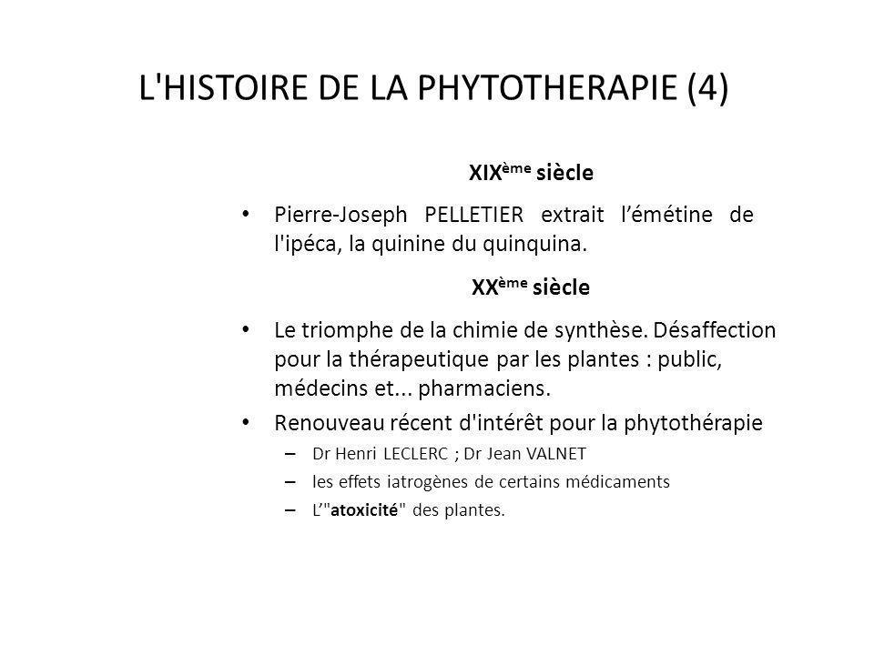 L'HISTOIRE DE LA PHYTOTHERAPIE (4) XIX ème siècle Pierre-Joseph PELLETIER extrait lémétine de l'ipéca, la quinine du quinquina. XX ème siècle Le triom