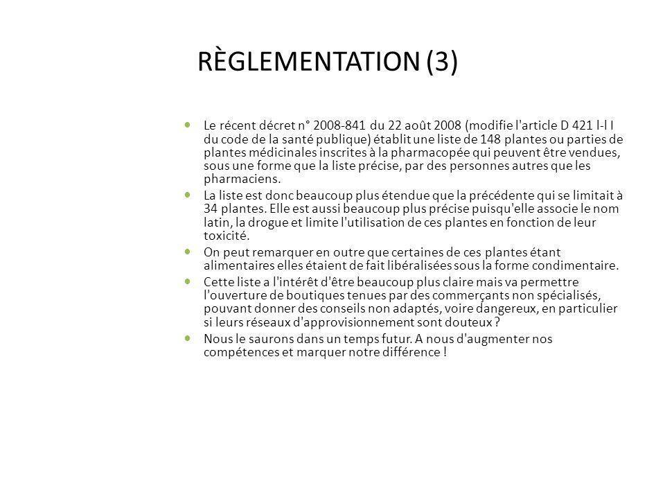 RÈGLEMENTATION (3) Le récent décret n° 2008-841 du 22 août 2008 (modifie l'article D 421 l-l I du code de la santé publique) établit une liste de 148