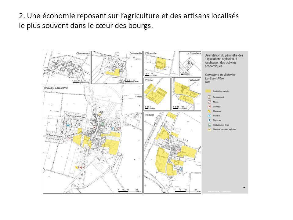 2. Une économie reposant sur lagriculture et des artisans localisés le plus souvent dans le cœur des bourgs.