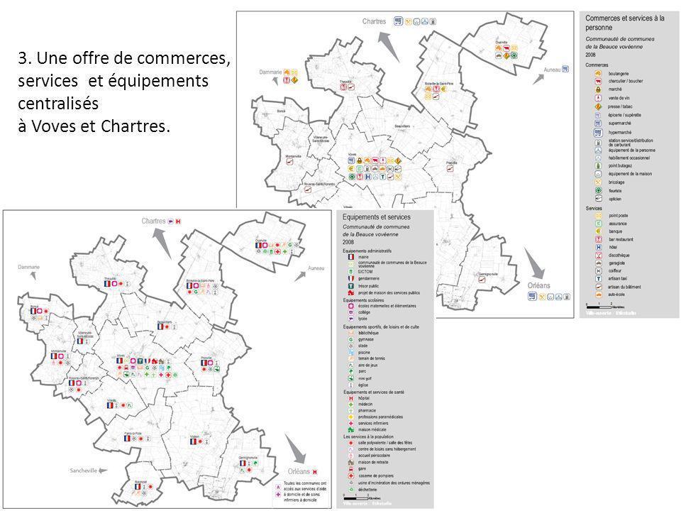 3. Une offre de commerces, services et équipements centralisés à Voves et Chartres.