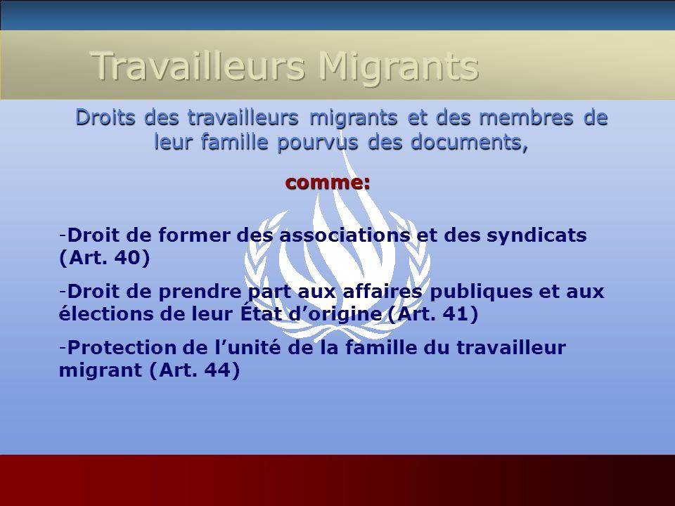 Droits des travailleurs migrants et des membres de leur famille pourvus des documents, comme: -Droit de former des associations et des syndicats (Art.