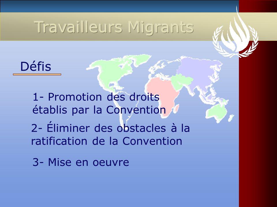 1- Promotion des droits établis par la Convention Défis 2- Éliminer des obstacles à la ratification de la Convention 3- Mise en oeuvre