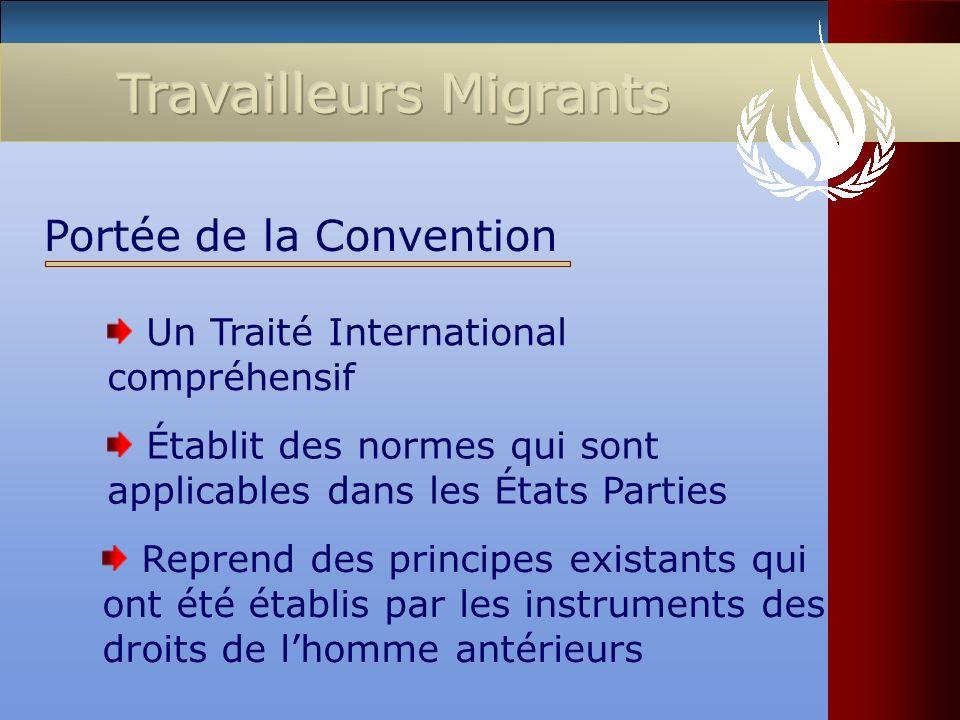 Un Traité International compréhensif Portée de la Convention Établit des normes qui sont applicables dans les États Parties Reprend des principes exis