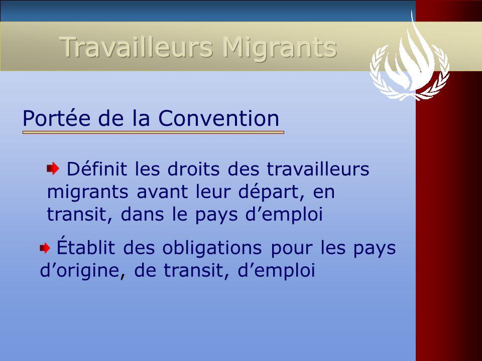 Définit les droits des travailleurs migrants avant leur départ, en transit, dans le pays demploi Portée de la Convention Établit des obligations pour