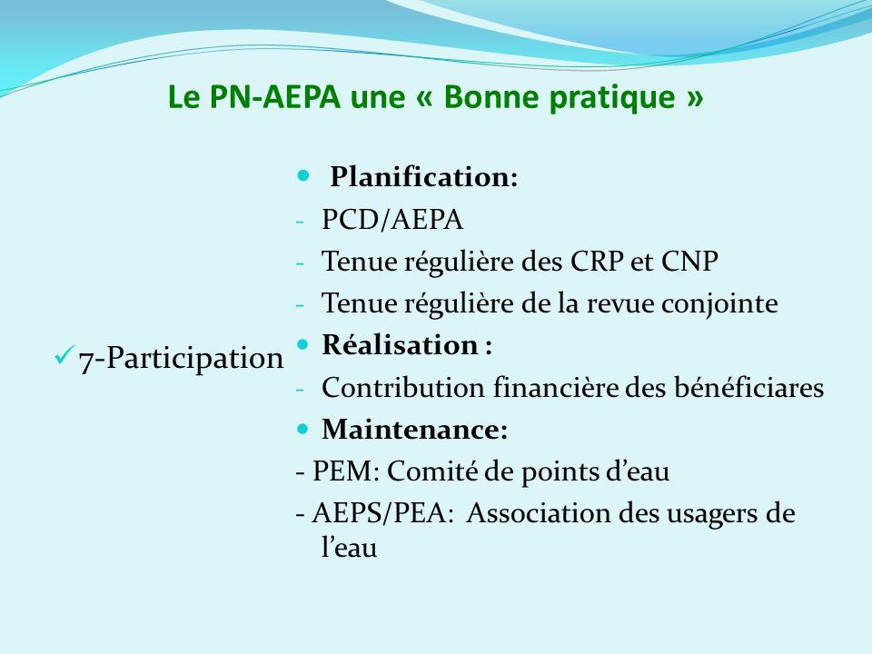 Le PN-AEPA une « Bonne pratique » 7-Participation Planification: - PCD/AEPA - Tenue régulière des CRP et CNP - Tenue régulière de la revue conjointe Réalisation : - Contribution financière des bénéficiares Maintenance: - PEM: Comité de points deau - AEPS/PEA: Association des usagers de leau