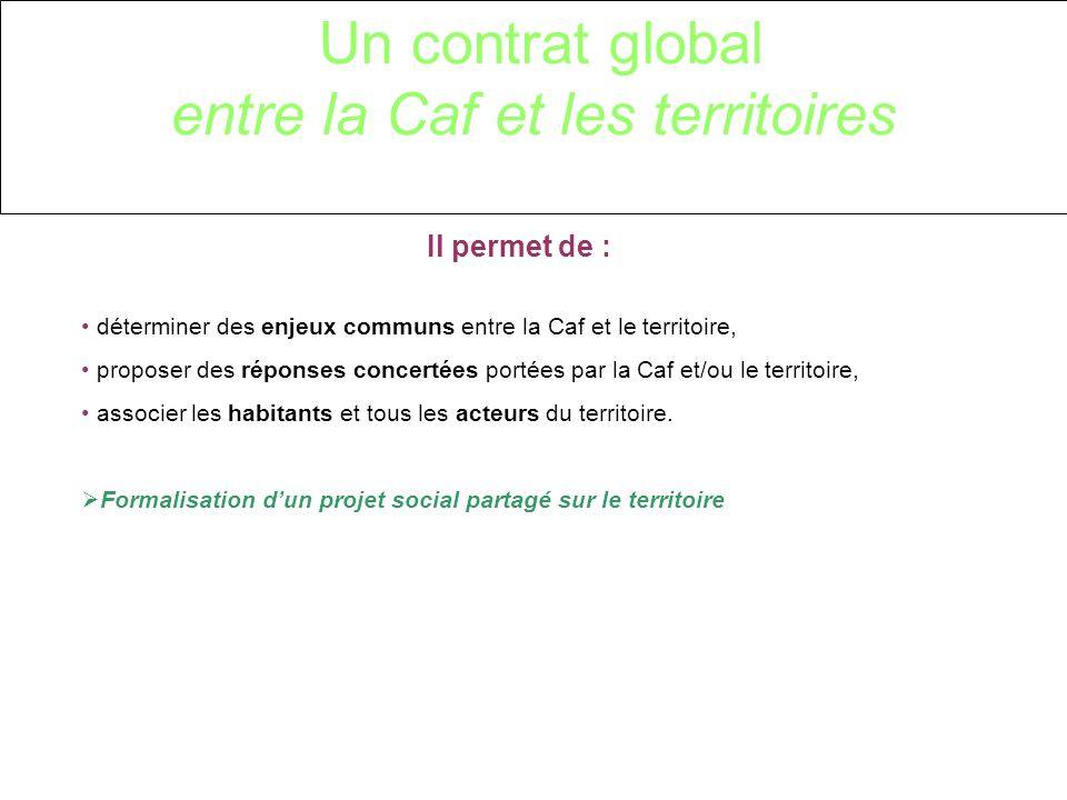 Un contrat global entre la Caf et les territoires Il permet de : déterminer des enjeux communs entre la Caf et le territoire, proposer des réponses concertées portées par la Caf et/ou le territoire, associer les habitants et tous les acteurs du territoire.