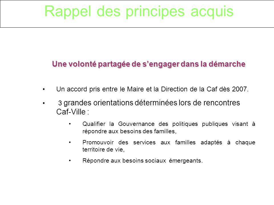 Rappel des principes acquis Une volonté partagée de sengager dans la démarche Un accord pris entre le Maire et la Direction de la Caf dès 2007.