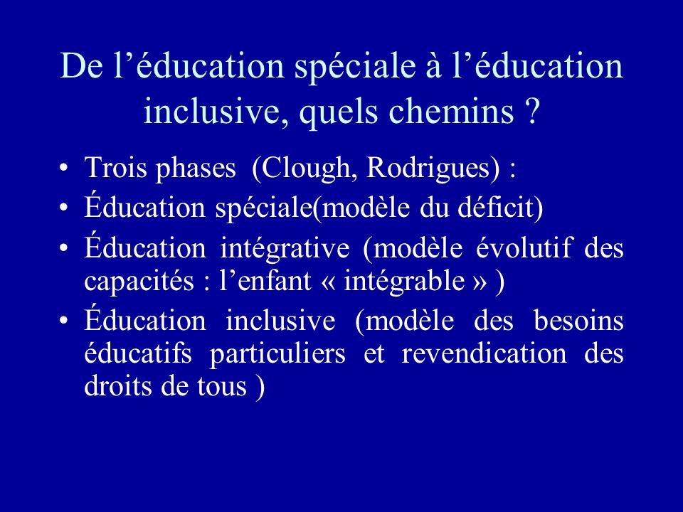 De léducation spéciale à léducation inclusive, quels chemins ? Trois phases (Clough, Rodrigues) : Éducation spéciale(modèle du déficit) Éducation inté