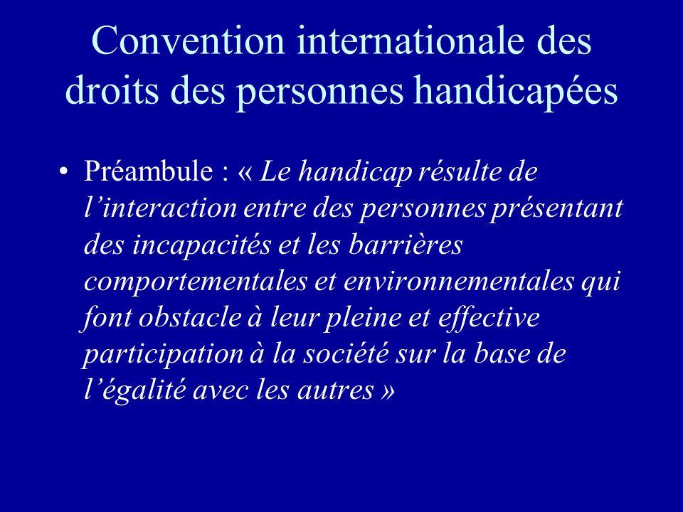 Convention internationale des droits des personnes handicapées Préambule : « Le handicap résulte de linteraction entre des personnes présentant des in