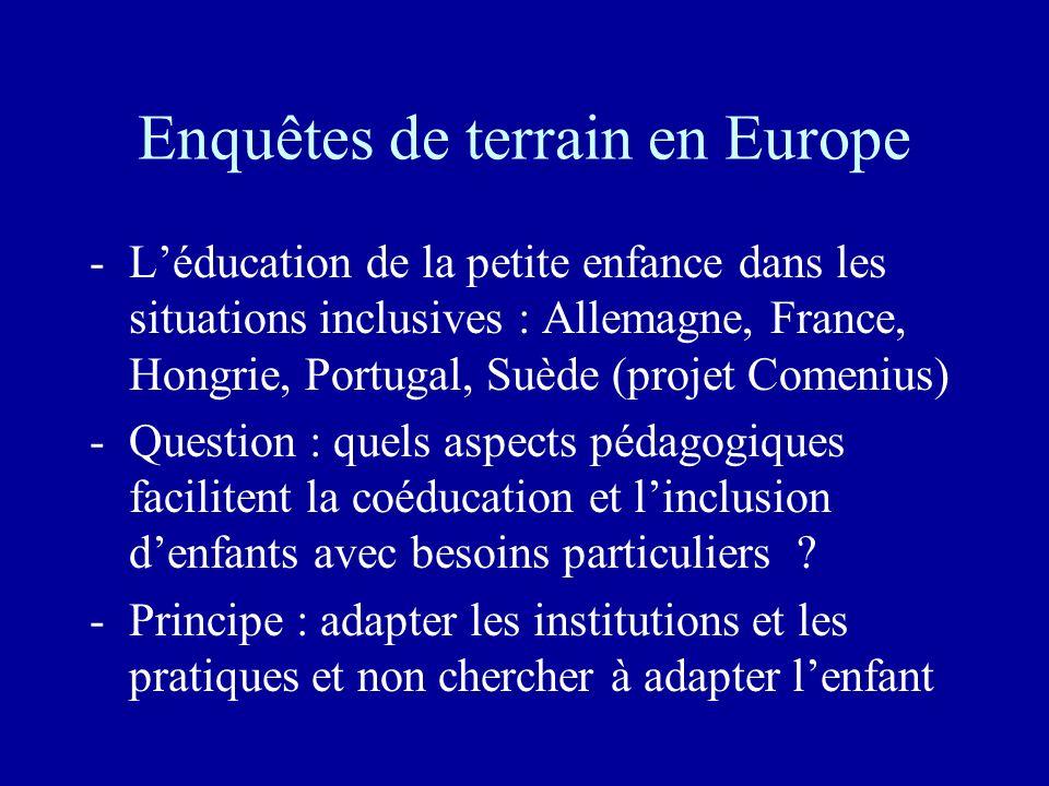 Enquêtes de terrain en Europe -Léducation de la petite enfance dans les situations inclusives : Allemagne, France, Hongrie, Portugal, Suède (projet Co