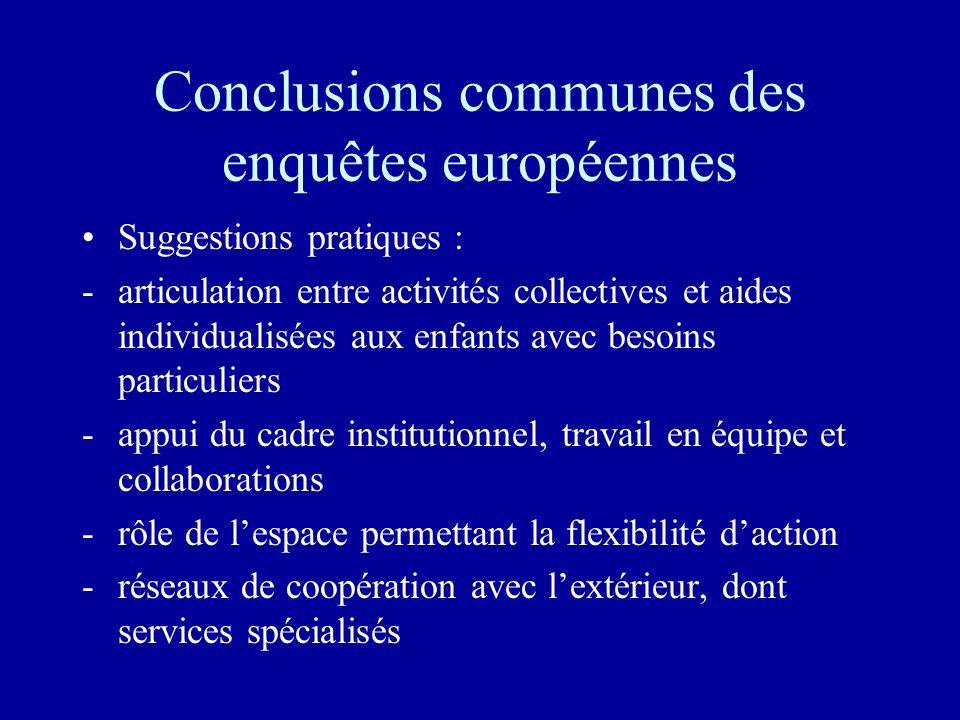Conclusions communes des enquêtes européennes Suggestions pratiques : -articulation entre activités collectives et aides individualisées aux enfants a