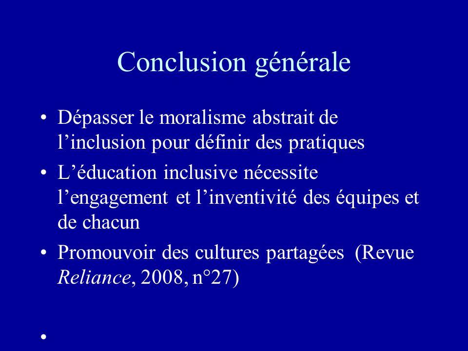 Conclusion générale Dépasser le moralisme abstrait de linclusion pour définir des pratiques Léducation inclusive nécessite lengagement et linventivité