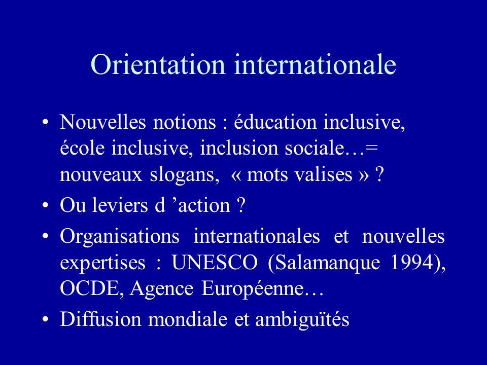 Orientation internationale Nouvelles notions : éducation inclusive, école inclusive, inclusion sociale…= nouveaux slogans, « mots valises » ? Ou levie