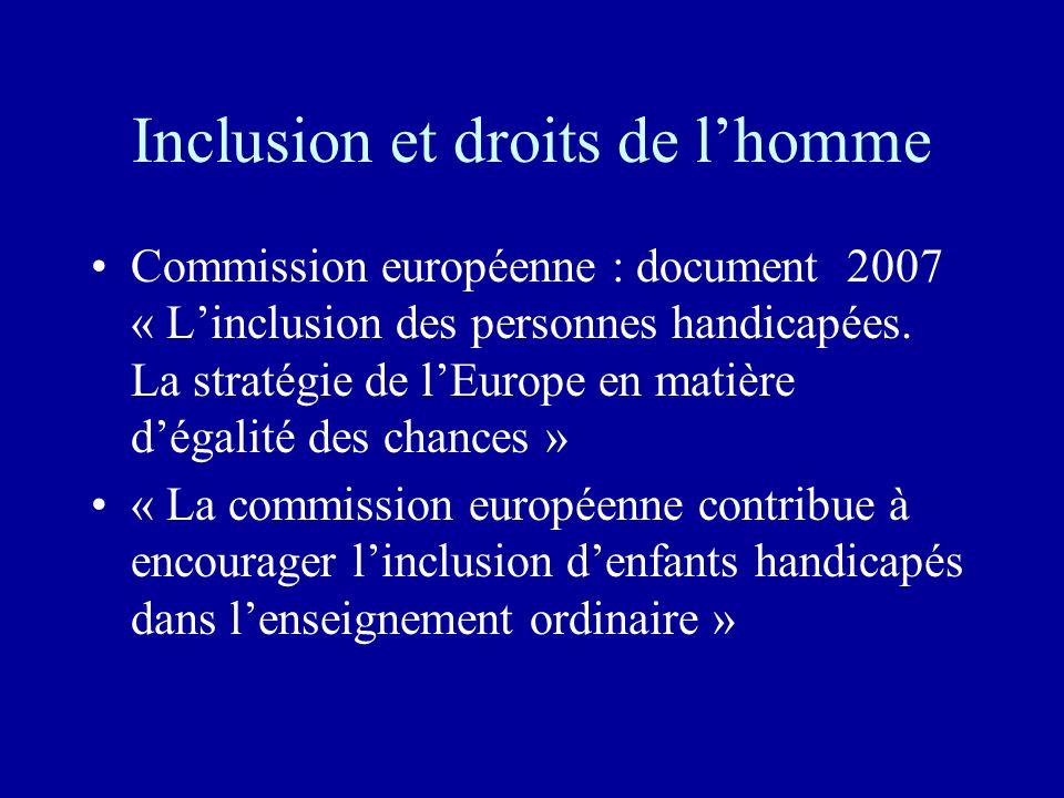 Inclusion et droits de lhomme Commission européenne : document 2007 « Linclusion des personnes handicapées. La stratégie de lEurope en matière dégalit
