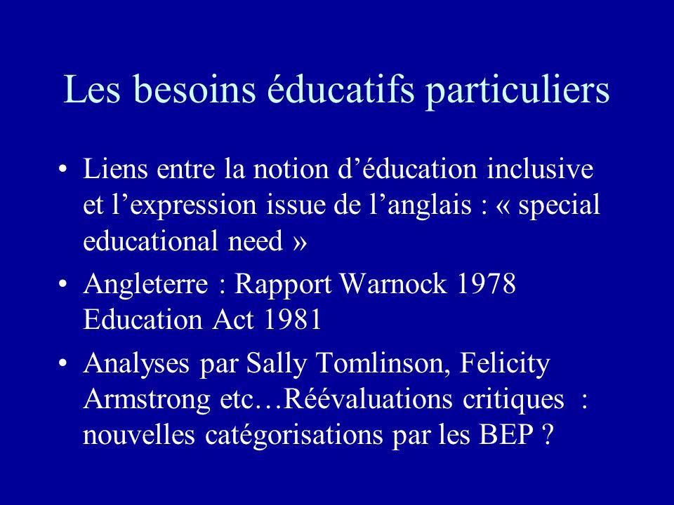 Les besoins éducatifs particuliers Liens entre la notion déducation inclusive et lexpression issue de langlais : « special educational need » Angleter