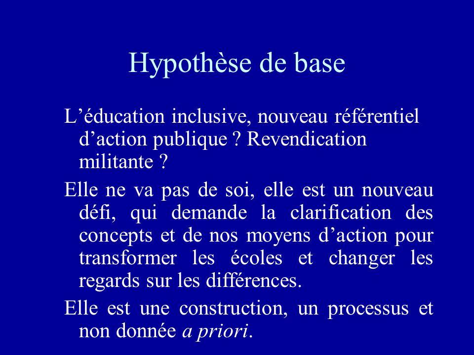 Hypothèse de base Léducation inclusive, nouveau référentiel daction publique ? Revendication militante ? Elle ne va pas de soi, elle est un nouveau dé