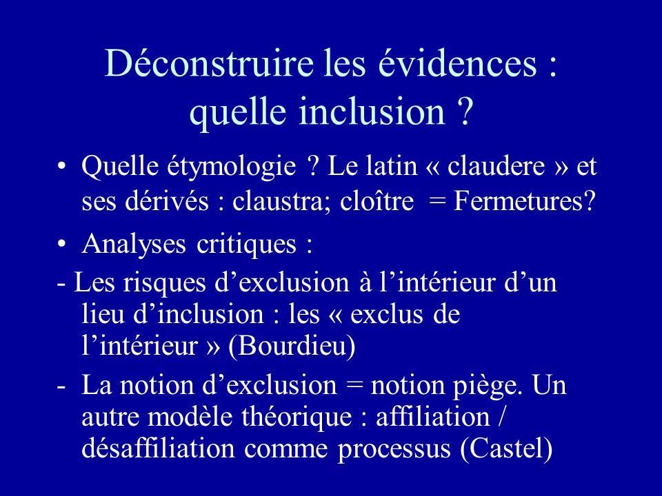 Déconstruire les évidences : quelle inclusion ? Quelle étymologie ? Le latin « claudere » et ses dérivés : claustra; cloître = Fermetures? Analyses cr