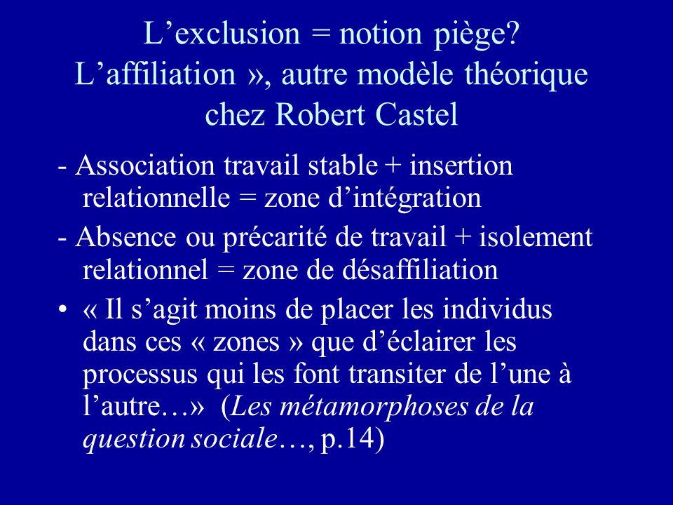 Lexclusion = notion piège? Laffiliation », autre modèle théorique chez Robert Castel - Association travail stable + insertion relationnelle = zone din