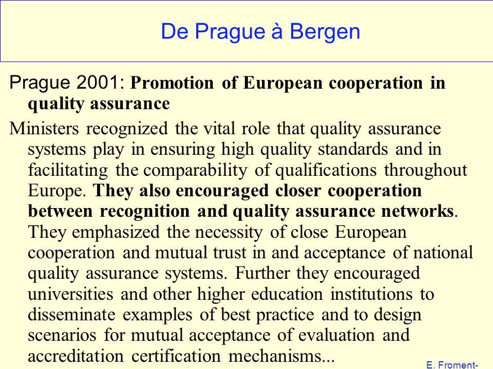 E. Froment- EHESS 01-06 De Prague à Bergen Prague 2001: Promotion of European cooperation in quality assurance Ministers recognized the vital role tha