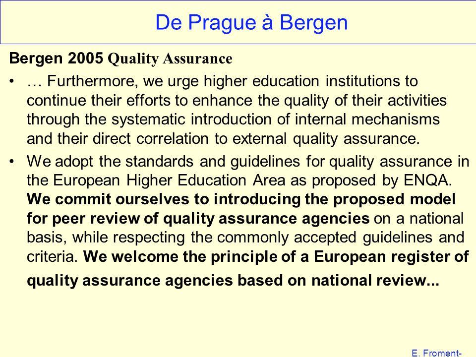 E. Froment- EHESS 01-06 De Prague à Bergen Bergen 2005 Quality Assurance … Furthermore, we urge higher education institutions to continue their effort