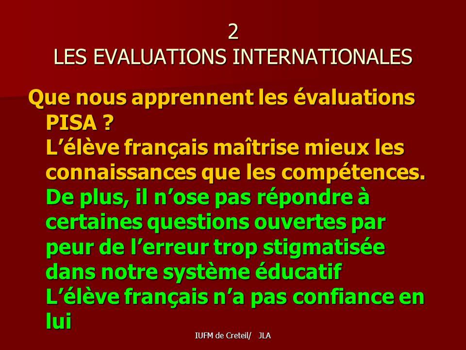 IUFM de Creteil/ JLA 2 LES EVALUATIONS INTERNATIONALES Que nous apprennent les évaluations PISA .