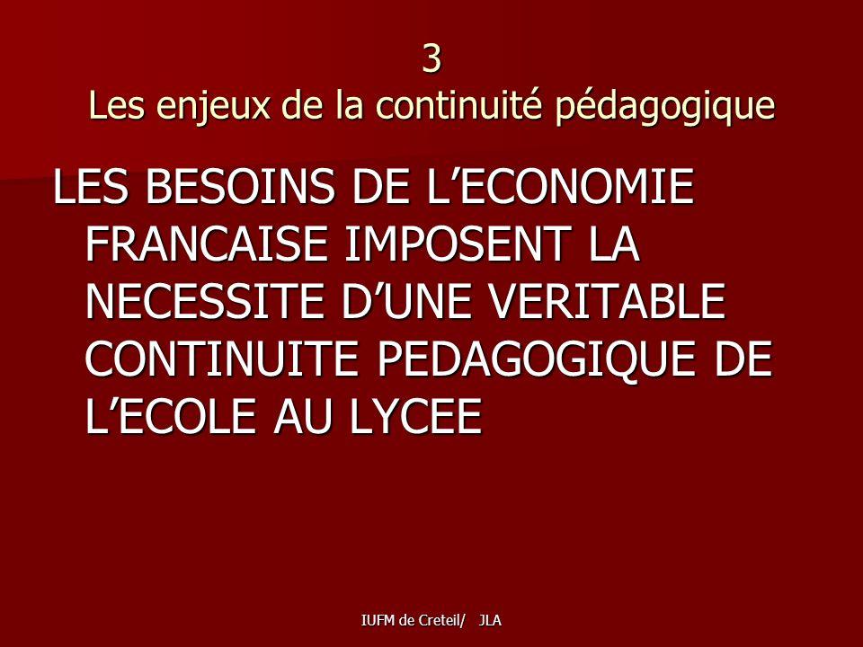 3 Les enjeux de la continuité pédagogique LES BESOINS DE LECONOMIE FRANCAISE IMPOSENT LA NECESSITE DUNE VERITABLE CONTINUITE PEDAGOGIQUE DE LECOLE AU LYCEE