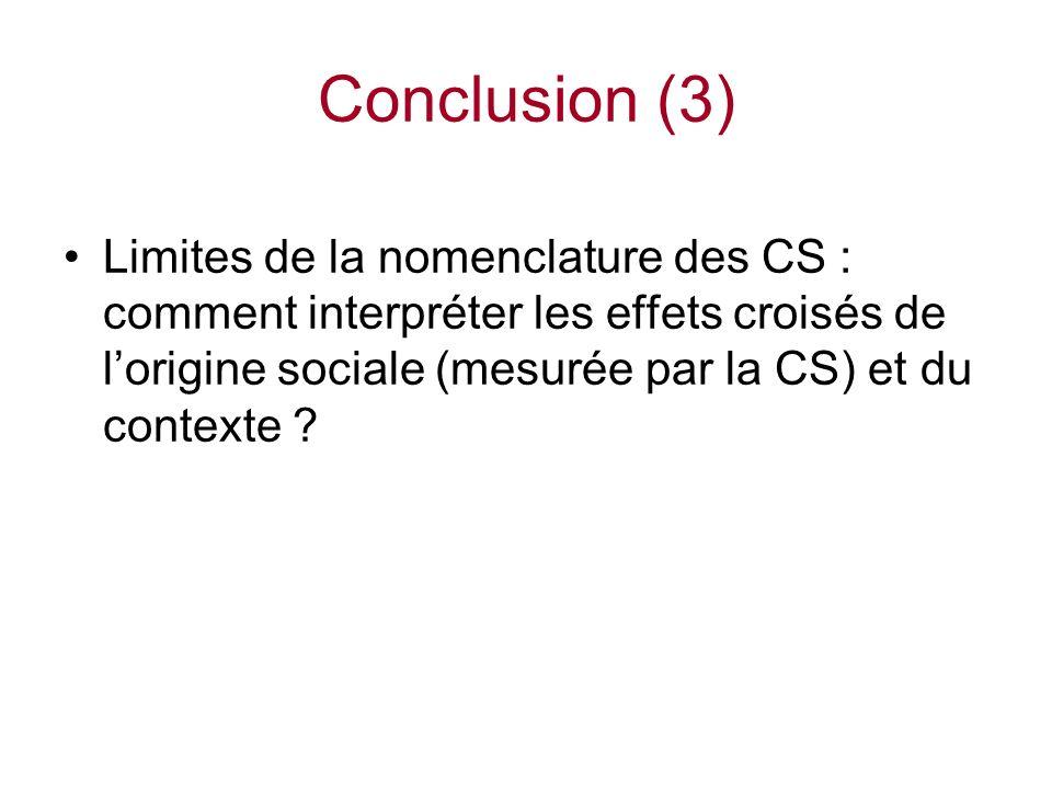 Limites de la nomenclature des CS : comment interpréter les effets croisés de lorigine sociale (mesurée par la CS) et du contexte .