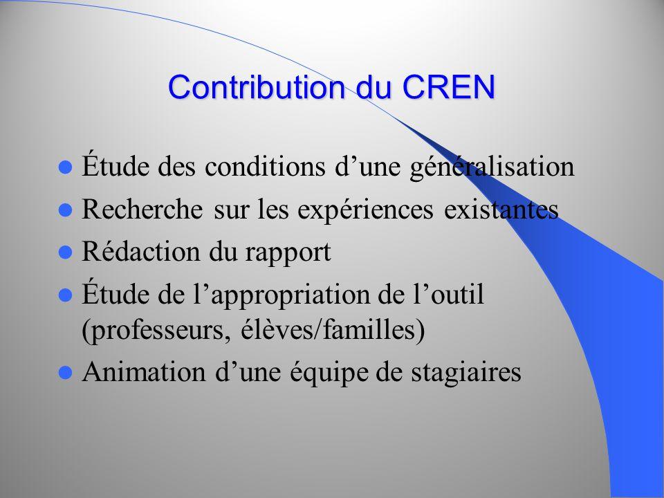 Contribution du CREN Étude des conditions dune généralisation Recherche sur les expériences existantes Rédaction du rapport Étude de lappropriation de