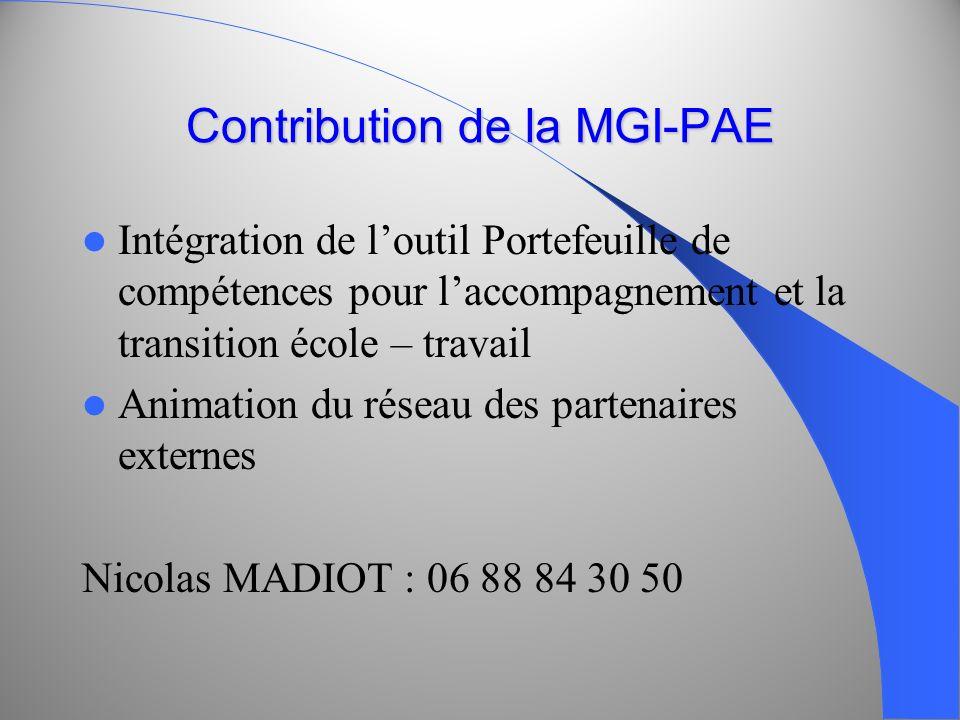 Contribution de la MGI-PAE Intégration de loutil Portefeuille de compétences pour laccompagnement et la transition école – travail Animation du réseau